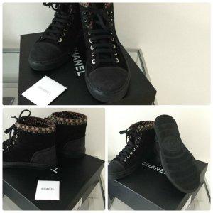 Chanel Schuhe Sneaker Gr.36,5 Leder Schwarz L.P.800€- Traumschön
