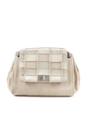 Chanel Schultertasche creme-wollweiß grafisches Muster Business-Look