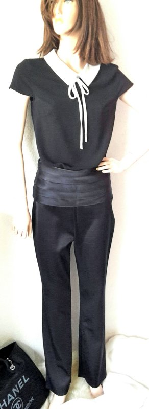 Chanel Pantalón de cintura alta negro Seda