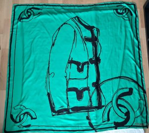 Chanel Silk Scarf green-black silk