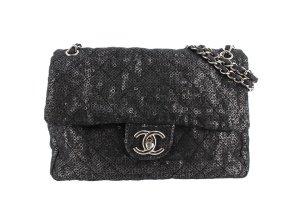 Chanel Sac porté épaule noir tissu mixte