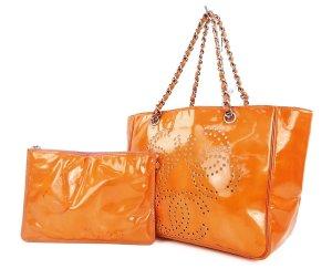 Chanel Set in orange CC Logo Shopper mit eine pochette Luxus Pur!