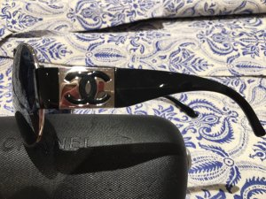 Chanel Oval Sunglasses black-pale blue