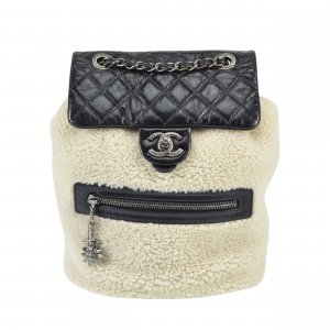 Chanel Sac à dos de randonnée noir-blanc cassé cuir