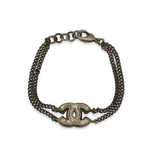 Chanel Silver-Tone CC Metal Bracelet