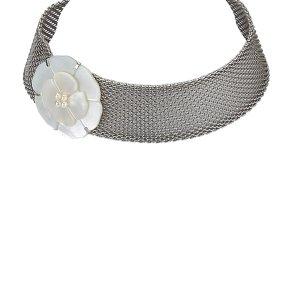 Chanel Silver Toned Camellia Choker