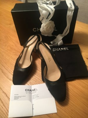 Chanel Slingback pumps zwart Leer