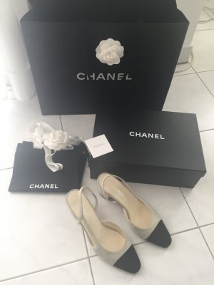 Chanel Slingpumps/ Slingbacks grau 37 1/2