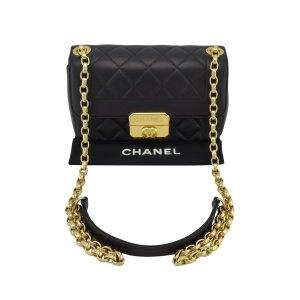 Chanel Bandolera negro-color oro Cuero