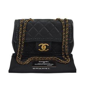 Chanel Borsa a spalla nero-oro Pelle