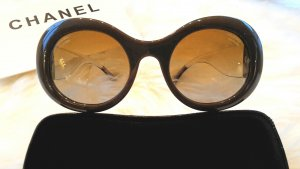 Chanel Round Sunglasses grey brown-sand brown synthetic material