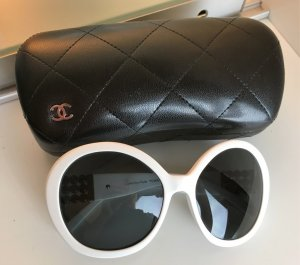 "* CHANEL * SONNENBRILLE oversize weiß schwarz "" COLLECTION PERLE """