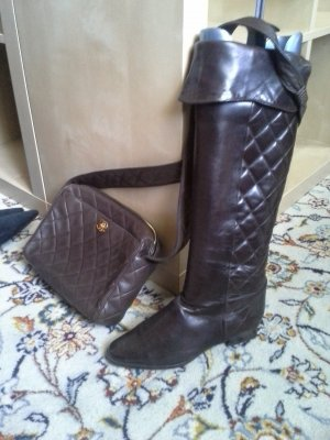 Chanel Bottes à l'écuyère brun cuir