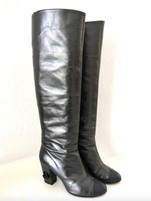 Chanel Laarzen met hak grijs-zwart Leer