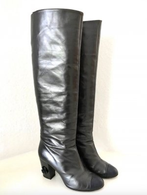 CHANEL Stiefel Metallic Grau Schwarz Leder Kamelie 39-40 High Boots Black Grey