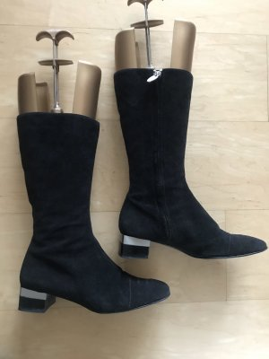 Chanel Stiefel Wildleder schwarz