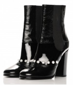 Chanel Slip-on Booties black-white leather