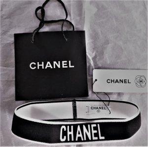 Chanel Cinta para el pelo negro-blanco Licra