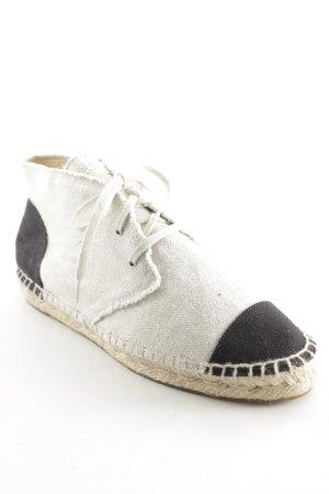 Chanel Stoff Canvas Schnürschuhe Espadrilles beige-schwarz bi-color 39 39,5