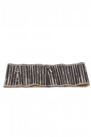 Chanel Fabric Belt black-gold-colored striped pattern casual look