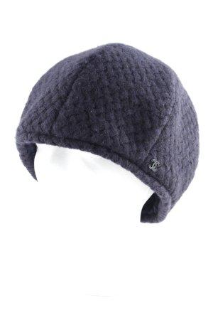 Chanel Sombrero de tela azul oscuro punto trenzado estilo minimalista