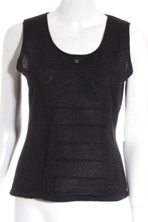Chanel T-shirts en mailles tricotées noir élégant