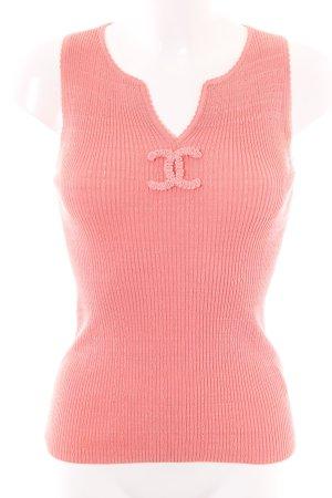 Chanel Top lavorato a maglia rosa punto treccia stile casual