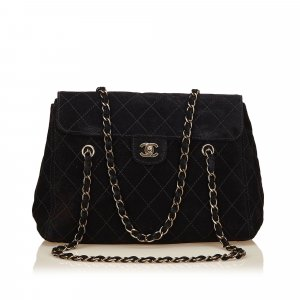 Chanel Schoudertas zwart Suede
