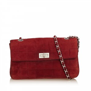 Chanel Schoudertas bordeaux Suede