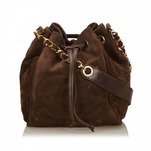 Chanel Suede Leather Drawstring Bag