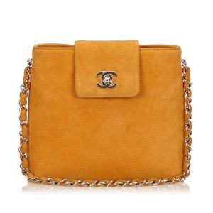 Chanel Bolsa de hombro marrón claro Gamuza