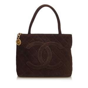 Chanel Borsa larga marrone Scamosciato