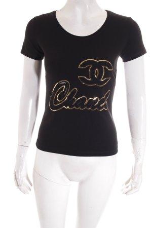 Chanel T-Shirt schwarz Glitzer-Optik