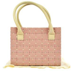 Chanel Handtas stoffig roze-wolwit Leer