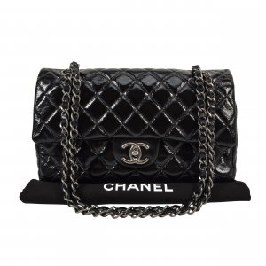Chanel Shoulder Bag black-silver-colored leather