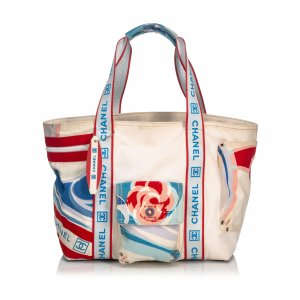 Chanel Tricolor Sports Line Canvas Tote