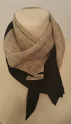 Chanel Foulard noir-beige soie