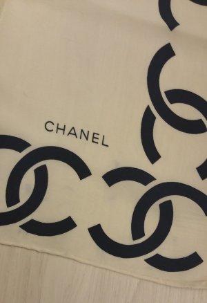 Chanel Pañoleta blanco puro-azul oscuro Seda