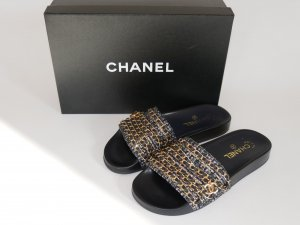 Chanel Tweed Mules Chain Slides Sandalen Schuhe Flats 38 37 wie Neu BOX