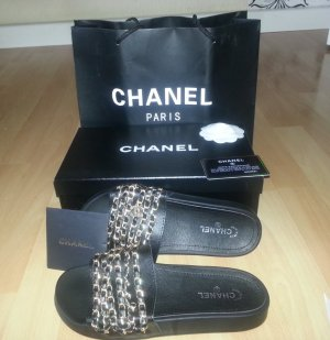Chanel Sandals black-sand brown leather