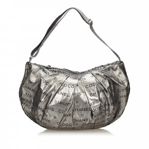 Chanel Shoulder Bag silver-colored nylon