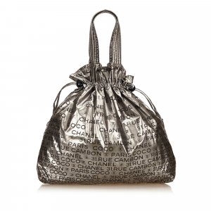 Chanel Tote silver-colored mixture fibre