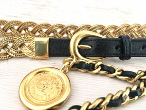 Chanel Leather Belt black-gold-colored