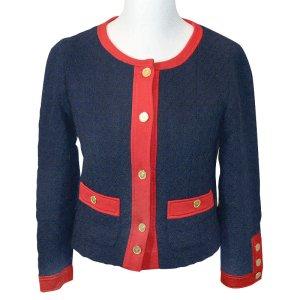 Chanel Blazer bleu foncé-rouge laine