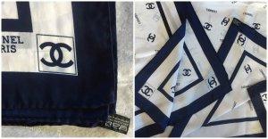 Chanel Zijden sjaal donkerblauw-wit Zijde