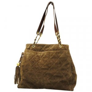 Chanel Shoulder Bag brown suede