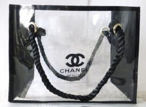 Chanel Pouch Bag black-white synthetic material