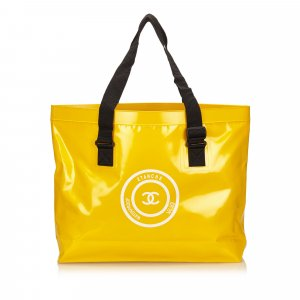 Chanel Tote yellow polyvinyl chloride