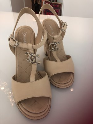 Chanel Wedge Sandals nude