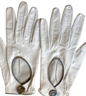 Chanel Guanto in pelle bianco-argento Pelle